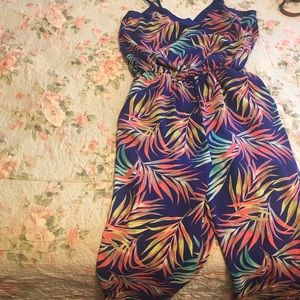 Xhiliration floral jumpsuit